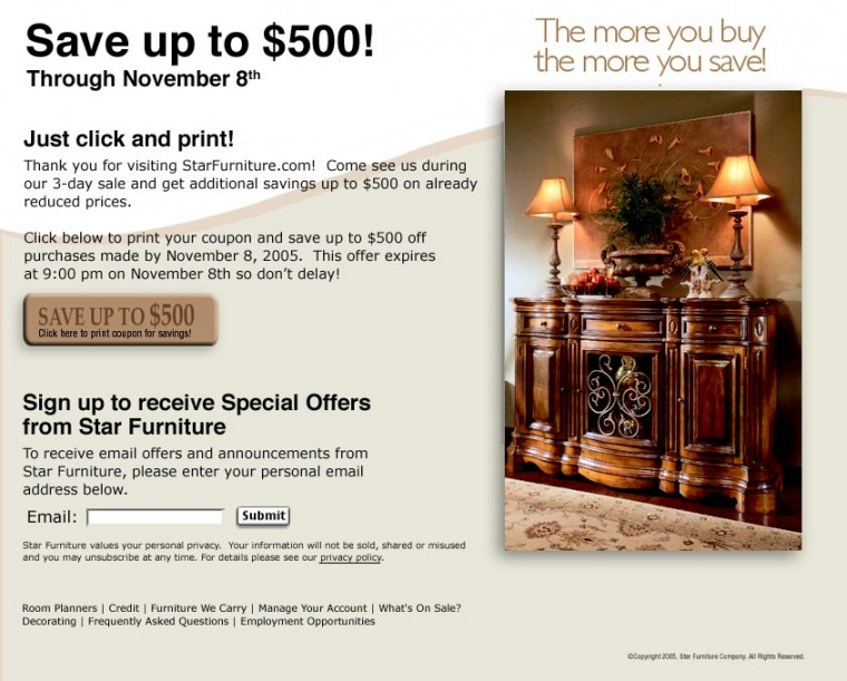 coupons star furniture